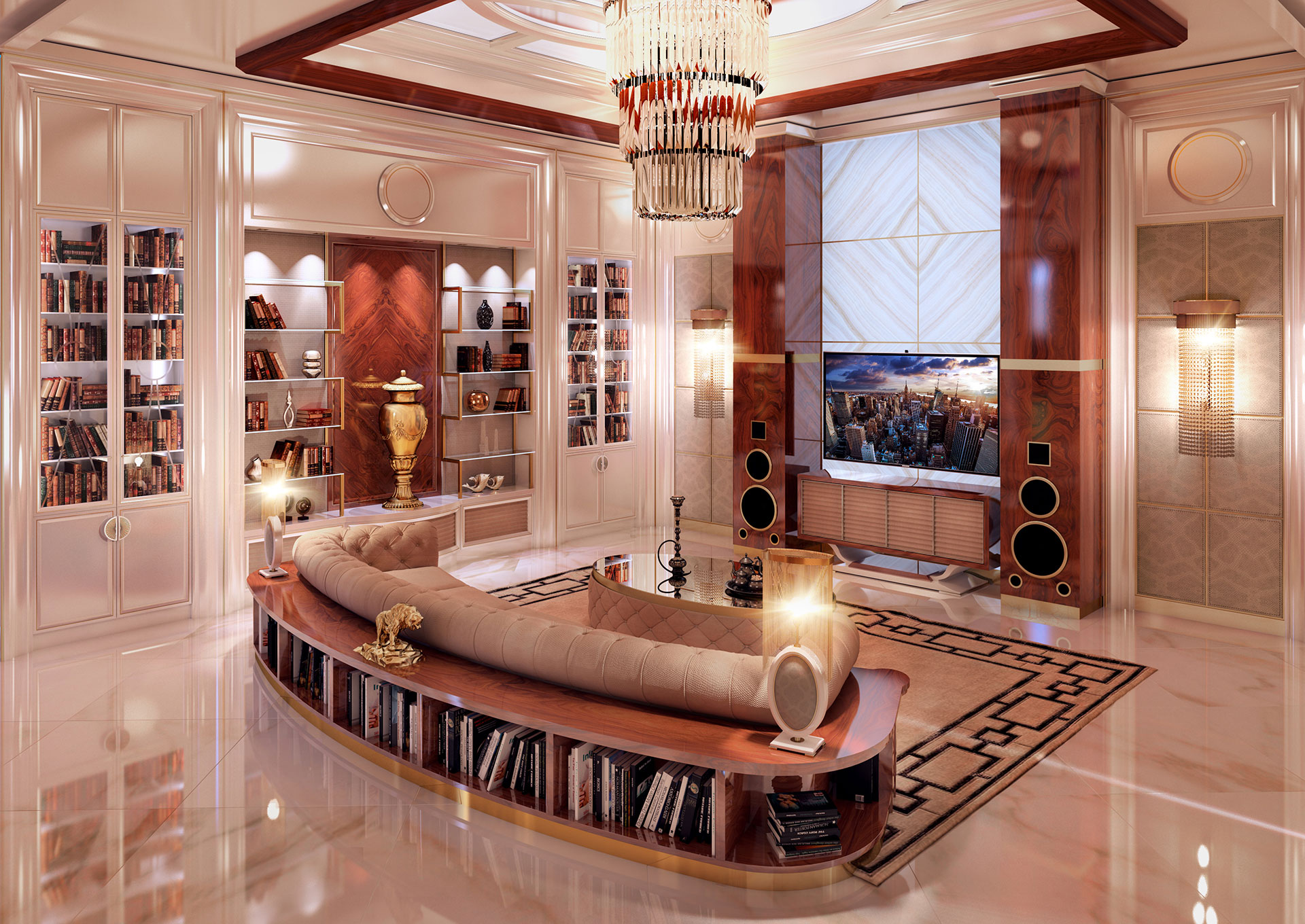 The spacious TV room features a comfortable sofa that rests on the bookshelf base and bespoke furniture