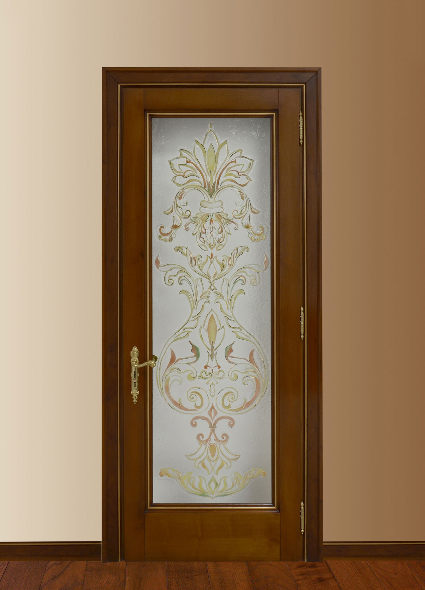 Faoma interior wooden door with decorated glass