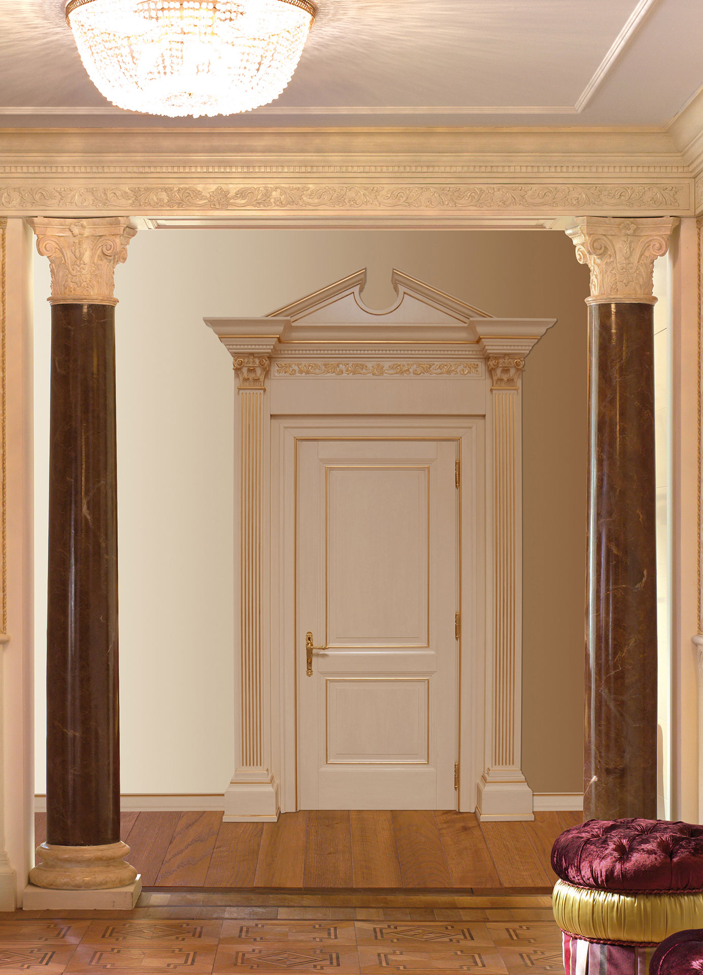 Faoma white wooden front door with capitals and tympanum
