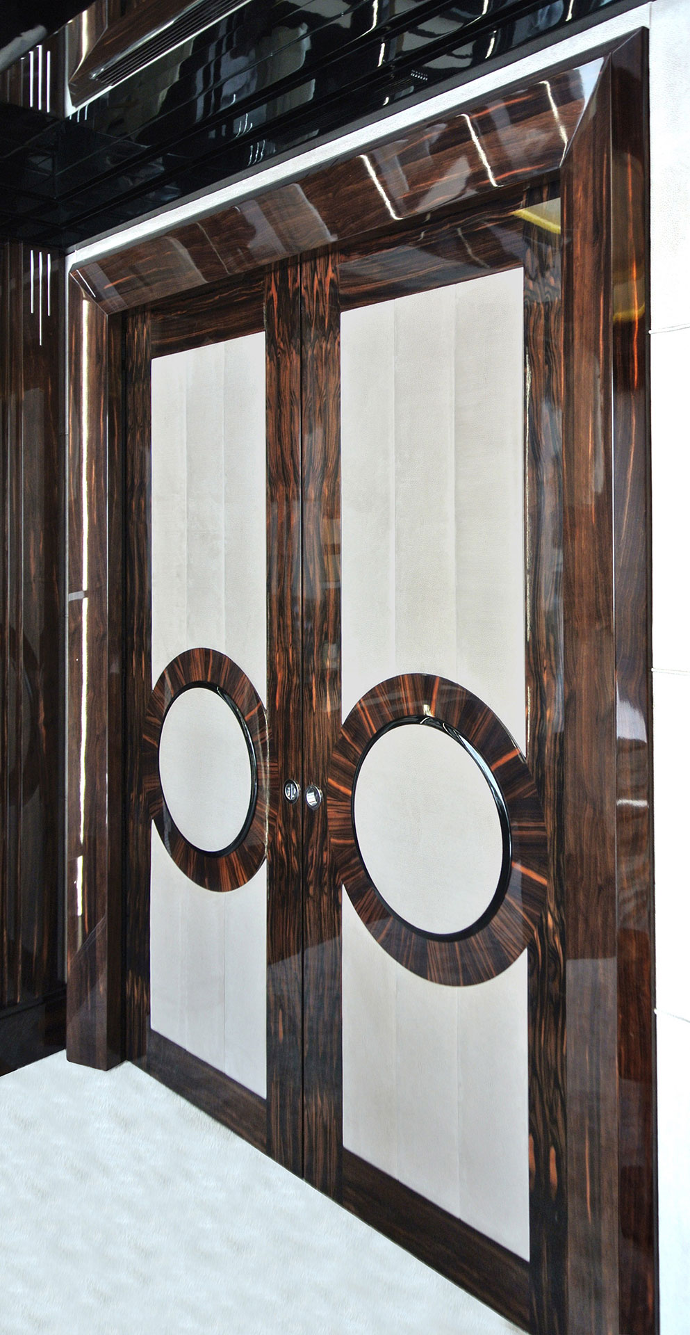 Faoma bespoke wood and leather front door