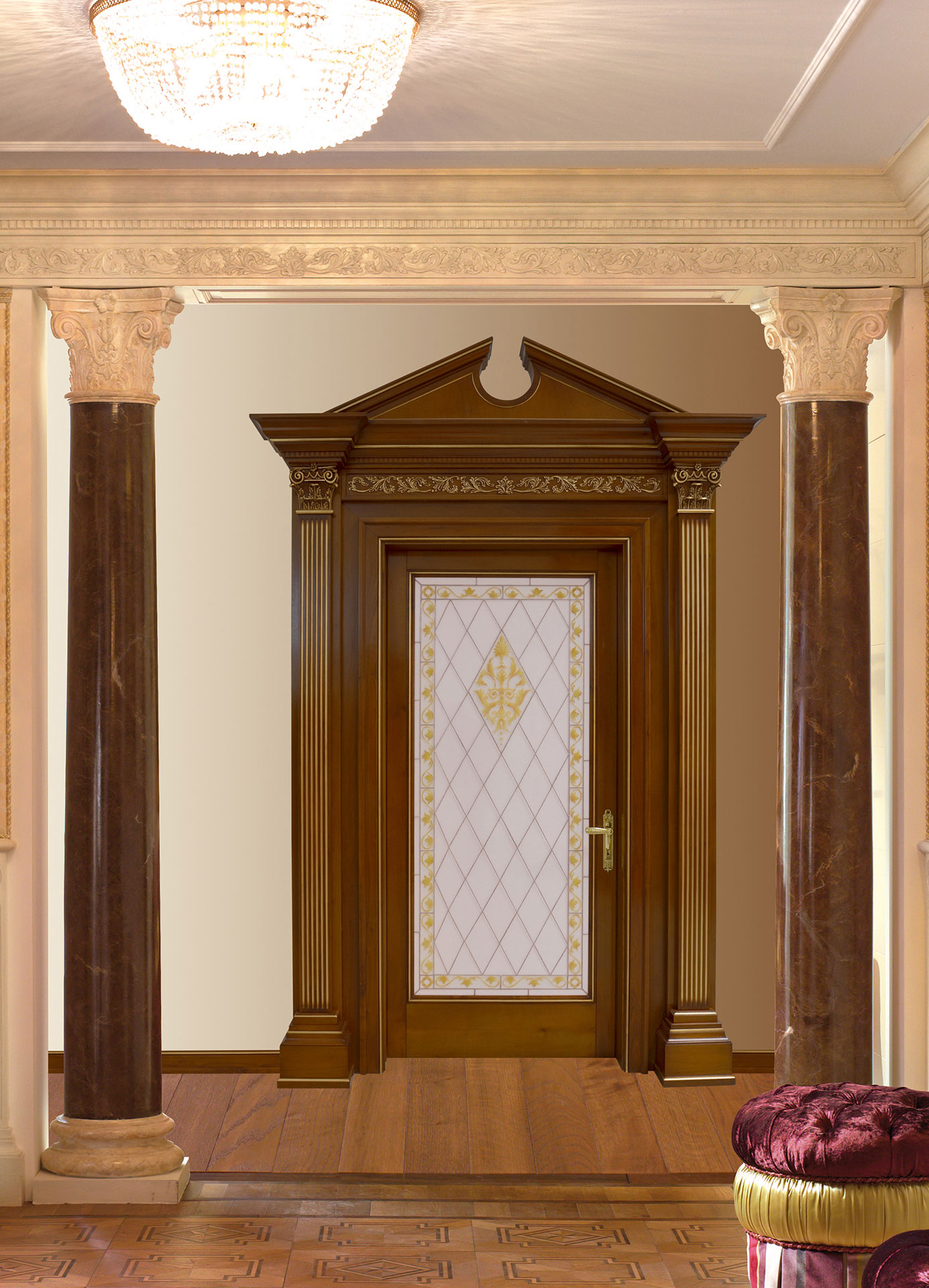 Faoma bespoke wooden and glass doorway with capitals and tympanum