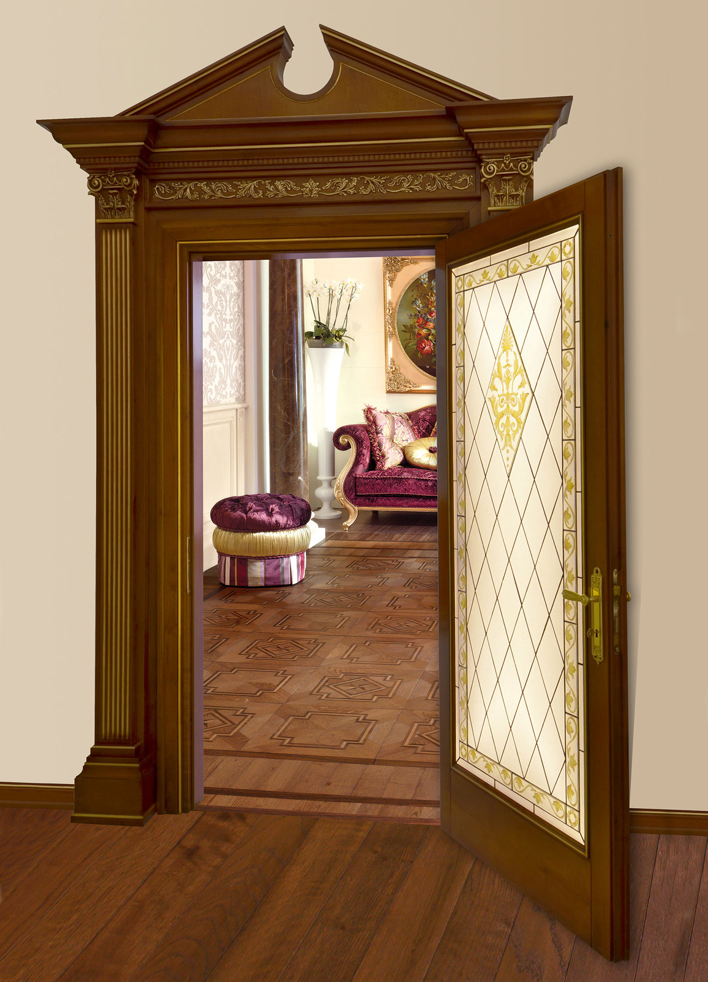 Faoma classic-style glass and wood door