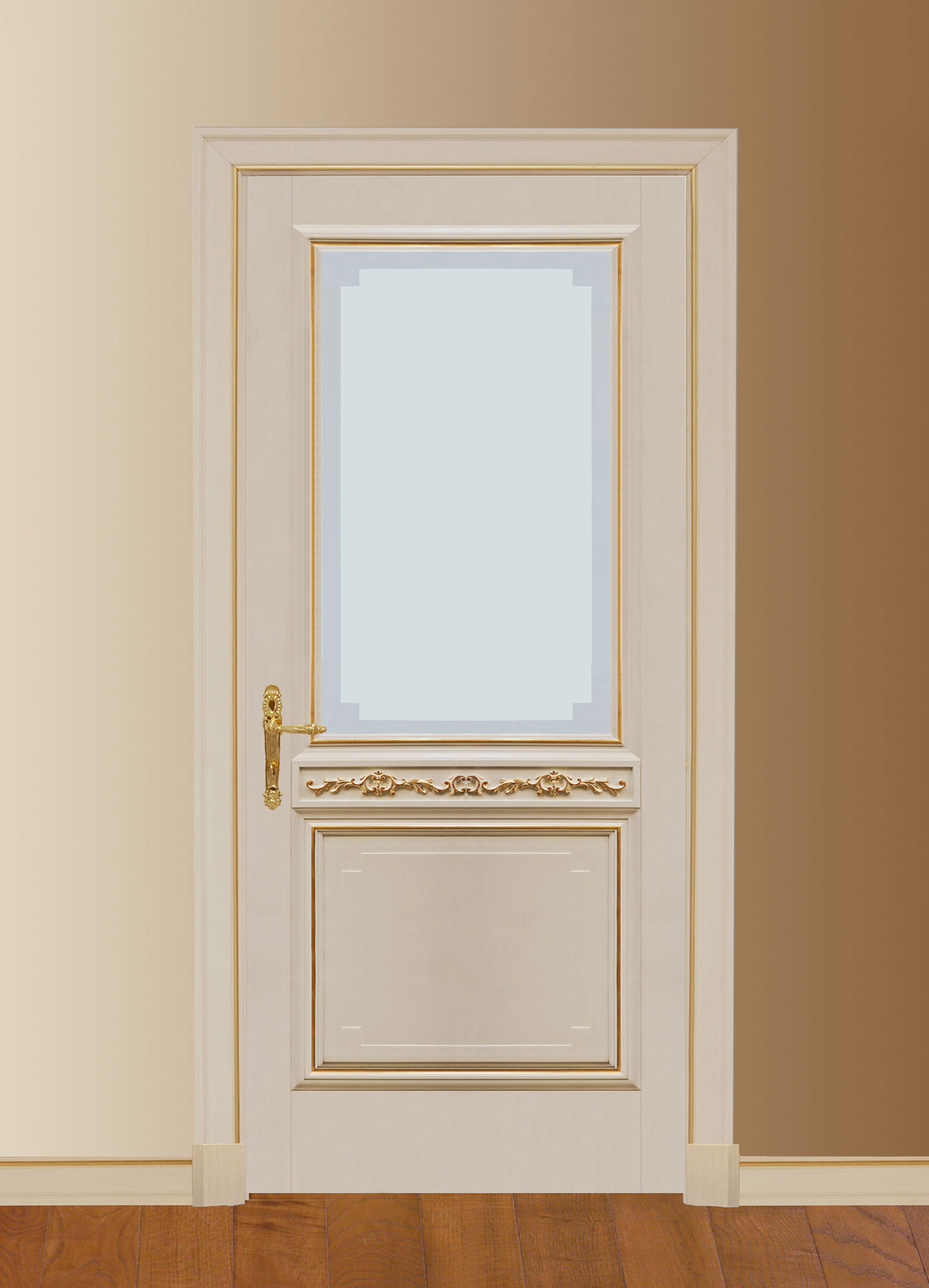 Faoma white wooden door with glass
