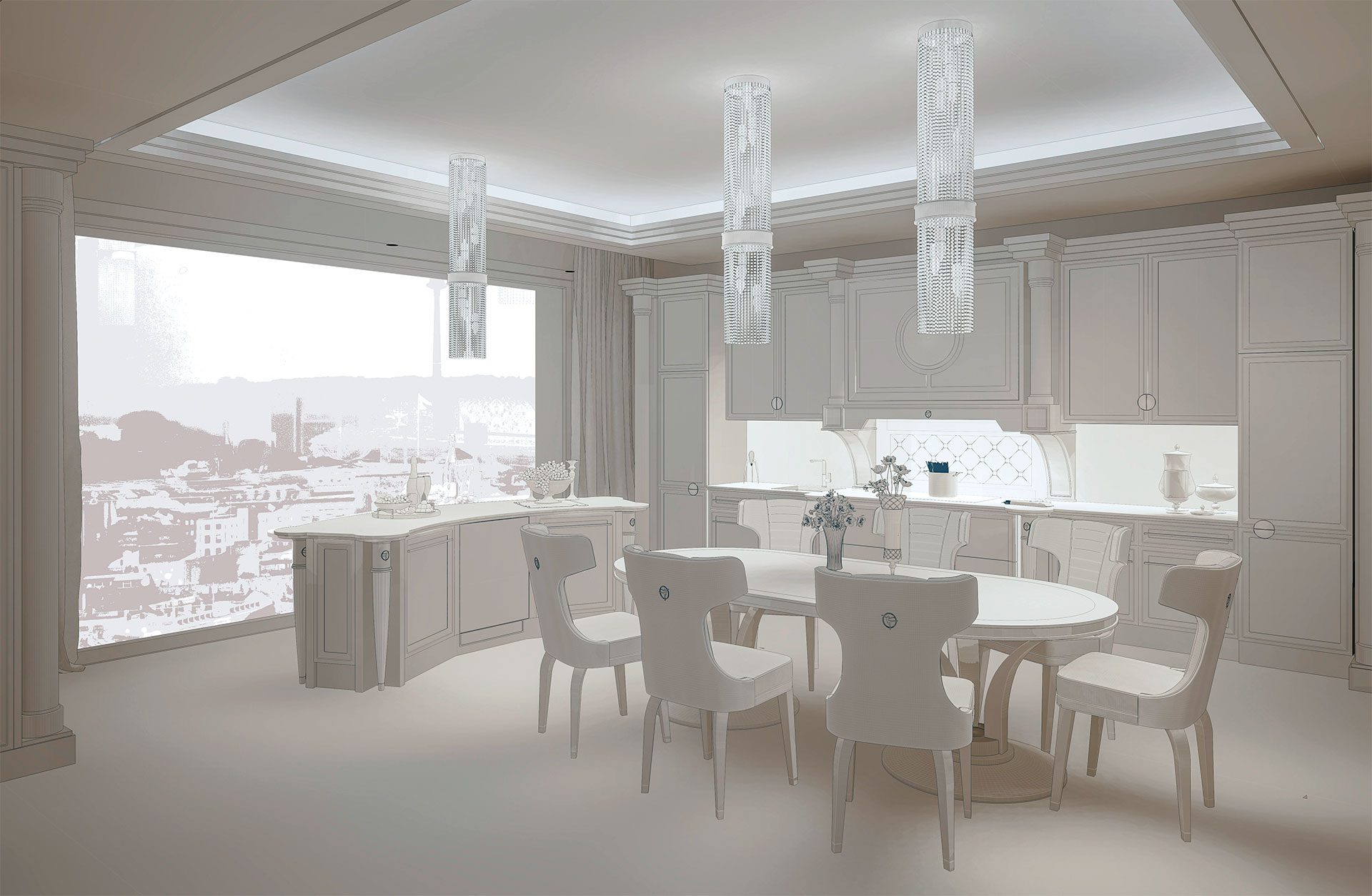 Faoma rendering of the custom-made Helvia kitchen
